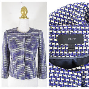 J. Crew Navy Tweed Cropped Jacket Blazer Career